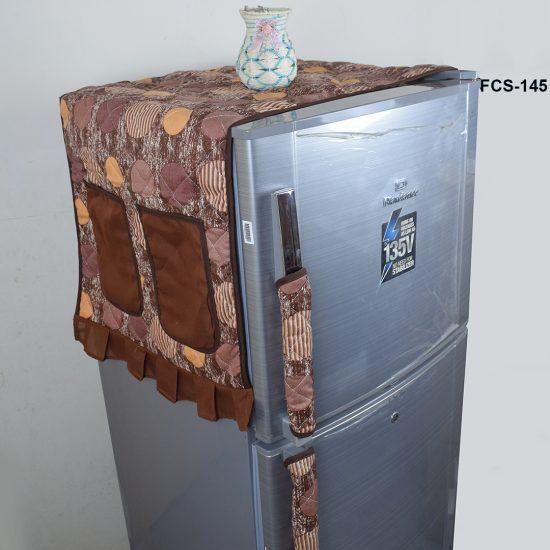 fridge cover brown dot print
