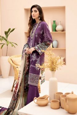 baqoque jazmin iris embroidered dhanak collection 2020